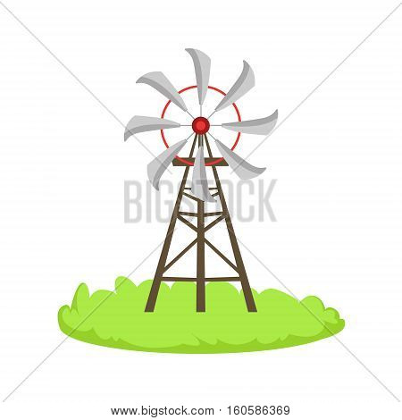 Energy Windmill Structure Cartoon Farm Related Element On Patch Of Green Grass. Colorful Vector Illustration With Farming And Rancho Associated Isolated Object.
