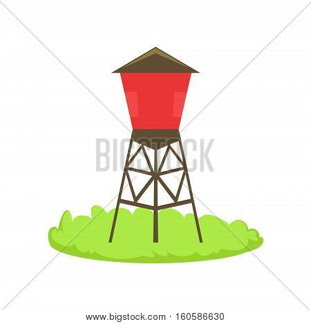 Red Water Barrel Cartoon Farm Related Element On Patch Of Green Grass. Colorful Vector Illustration With Farming And Rancho Associated Isolated Object.