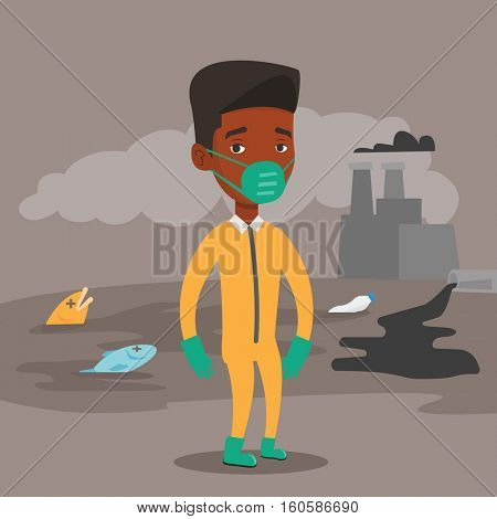 An african man in gas mask and radiation protective suit standing on the background of nuclear power plant. Scientist wearing radiation protection suit. Vector flat design illustration. Square layout.