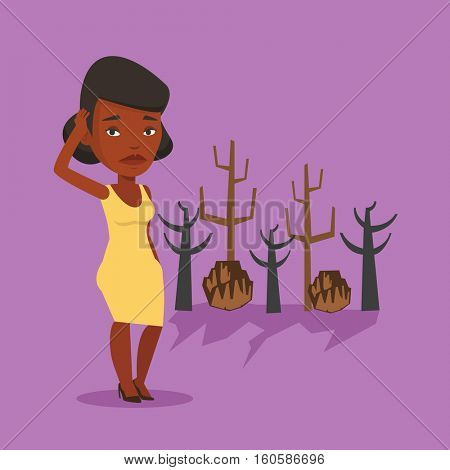 African woman scratching head on the background of dead forest. Dead forest caused by global warming or wildfire. Concept of environmental destruction. Vector flat design illustration. Square layout