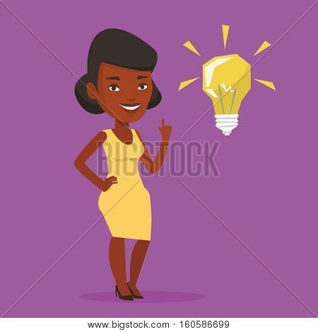 An african-american student pointing her finger up at the idea bulb. Young excited female student with bright idea bulb. Student having a great idea. Vector flat design illustration. Square layout.