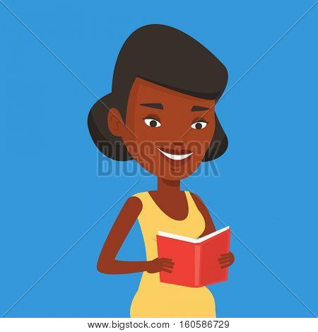 Smiling student reading a book. An african-american student reading a book and preparing for exam. Student holding a book in hands. Concept of education. Vector flat design illustration. Square layout