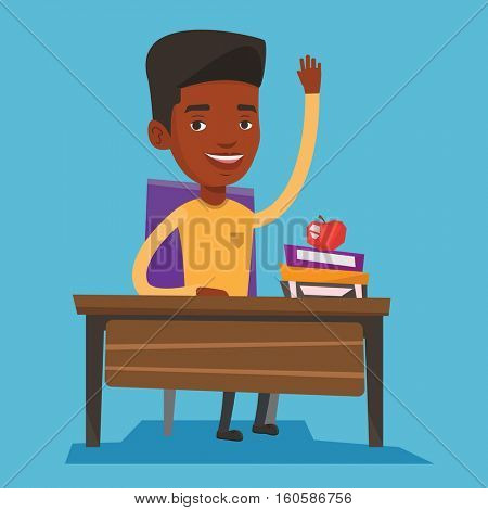 Student raising hand in the classroom for an answer. An african-american student sitting at the desk with raised hand. Schoolboy raising hand at lesson. Vector flat design illustration. Square layout