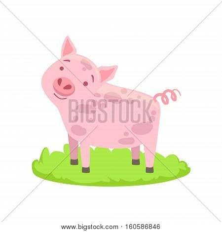 Pig Farm Animal Cartoon Farm Related Element On Patch Of Green Grass. Colorful Vector Illustration With Farming And Rancho Associated Isolated Object.