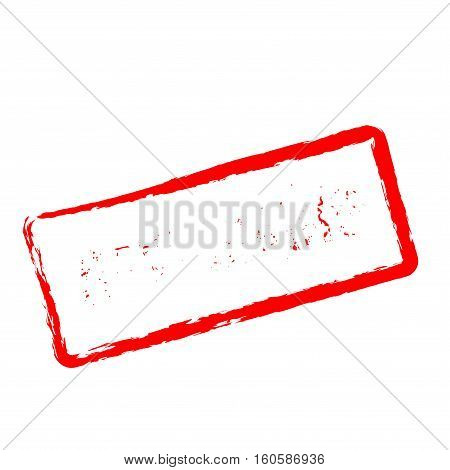 Now Hiring Red Rubber Stamp Isolated On White Background. Grunge Rectangular Seal With Text, Ink Tex