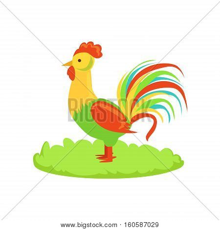 Rooster Farm Bird Cartoon Farm Related Element On Patch Of Green Grass. Colorful Vector Illustration With Farming And Rancho Associated Isolated Object.