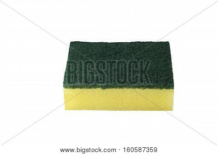 Dish cleaning sponge with scouring pads isolated on white background and clipping path