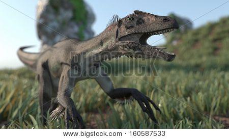 3d illustration of the utahraptor dinosdaurus