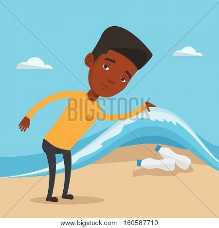 An african man showing plastic bottles under water of sea. Man collecting plastic bottles from water. Water pollution and plastic pollution concept. Vector flat design illustration. Square layout.