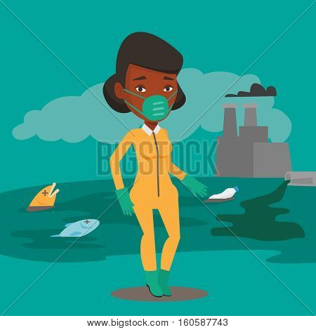 African woman in gas mask and radiation protective suit standing on the background of nuclear power plant. Scientist wearing radiation protection suit. Vector flat design illustration. Square layout.