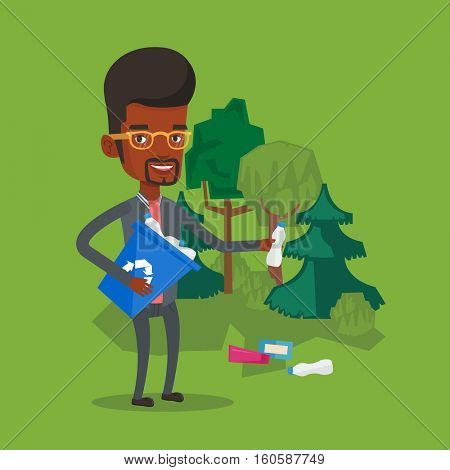 Man with recycling bin in hand picking up used plastic bottles. An african-american man collecting garbage in recycle bin. Waste recycling concept. Vector flat design illustration. Square layout.