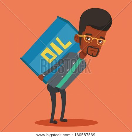 An african-american worker of oil industry carrying barrel on her back. Worker walking with oil barrel on her back. Worker holding heavy oil barrel. Vector flat design illustration. Square layout.