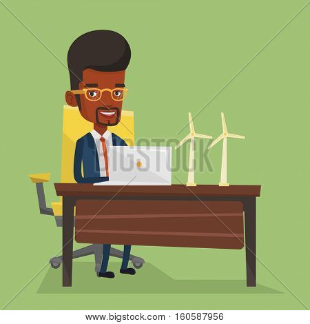 An african-american worker of wind farm working on laptop. Engineer projecting wind turbine. Worker with model of wind turbine. Vector flat design illustration. Square layout.