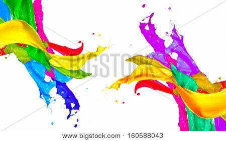 Colorful Paint Splash Isolated on White Background. Abstract Colored Splashing. Multicolor Paint Splatter. Colourful Paint