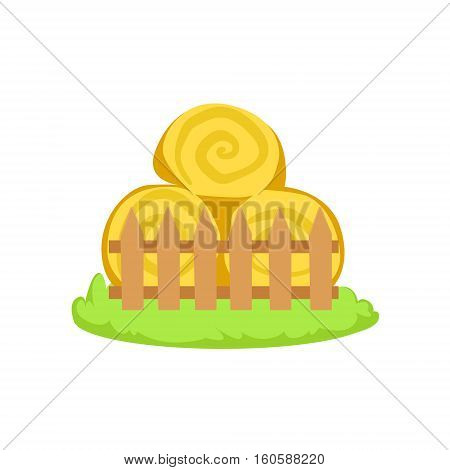 Pile Of Stacked Hay Rolls Cartoon Farm Related Element On Patch Of Green Grass. Colorful Vector Illustration With Farming And Rancho Associated Isolated Object.