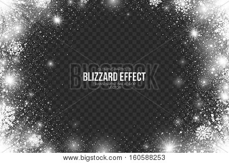 Snow Blizzard Effect on Transparent Background Vector Illustration. Abstract bright white shimmer glowing scatter falling round particles, lights and snowflakes