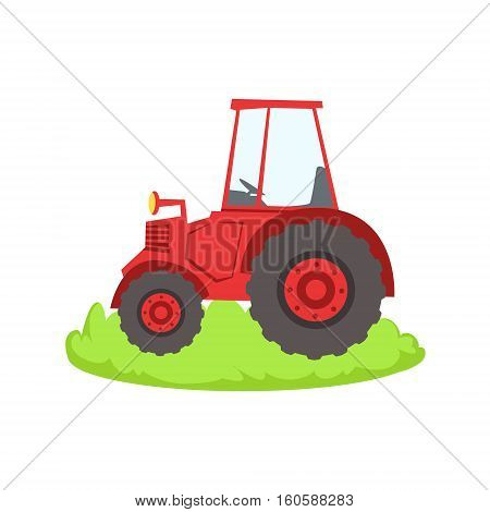Red Farm Truck Cartoon Farm Related Element On Patch Of Green Grass. Colorful Vector Illustration With Farming And Rancho Associated Isolated Object.