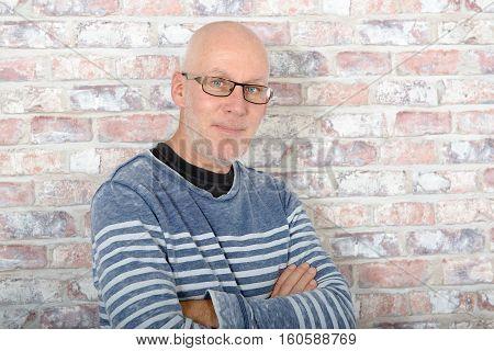 A portrait of smiling handsome mature man