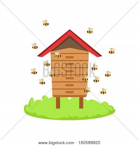 Bees Around Wooden Beehive Cartoon Farm Related Element On Patch Of Green Grass. Colorful Vector Illustration With Farming And Rancho Associated Isolated Object.