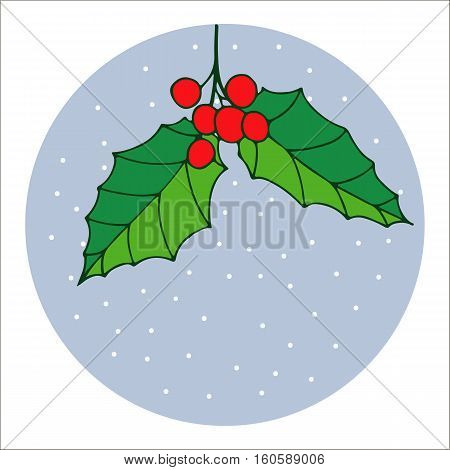 Merry Christmas mistletoe with berry. Traditional hand drawn christmas berry decoration greeting card. Holiday vector christmas berry decoration.