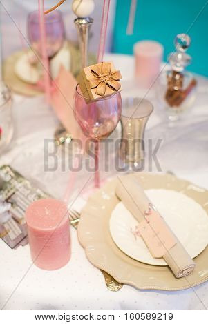 Table Set For Event With A Compliment For Guests