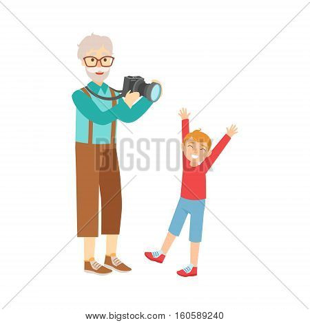 Grandfather And Grandson Taking Pictures, Part Of Grandparent And Grandchild Passing Time Together Set Of Illustrations. Good Relationship Between Generations Of Family Cartoon Vector Drawing.