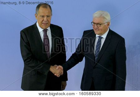 Hamburg Germany. December 8th 2016: German Foreign Minister Dr Frank-Walter Steinmeier welcomes Sergey Lavrov Minister of Foreign Affairs of Russian Federation at the 23rd OSCE Ministerial Council in Hamburg