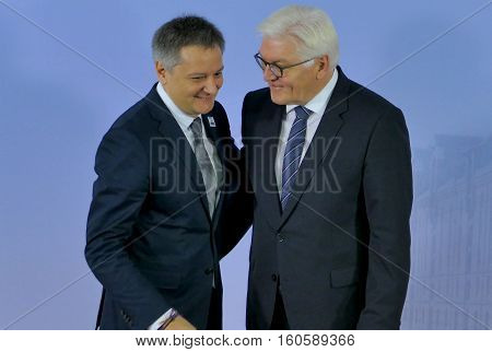 Hamburg Germany. December 8th 2016: Minister Dr Frank-Walter Steinmeier welcomes Gilbert Saboya Sunye Minister of Foreign Affairs of Andorra at the 23rd OSCE Ministerial Council in Hamburg