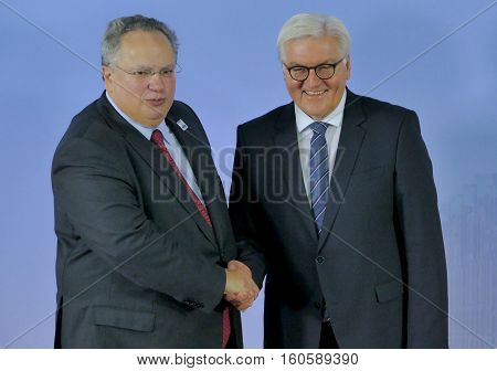 Hamburg Germany. December 8th 2016: Minister Dr Frank-Walter Steinmeier welcomes Nikos Kotzias Minister of Foreign Affairs of Greece at the 23rd OSCE Ministerial Council in Hamburg
