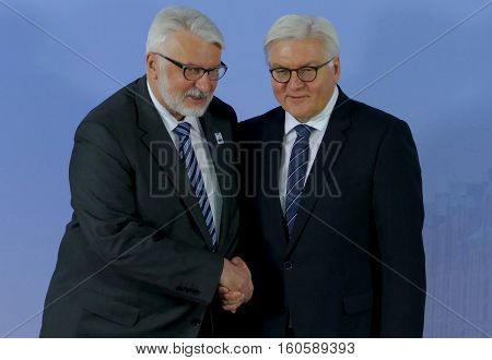 Hamburg Germany. December 8th 2016: Minister Dr Frank-Walter Steinmeier welcomes Witold Waszczykowski Minister of Foreign Affairs of Poland at the 23rd OSCE Ministerial Council in Hamburg