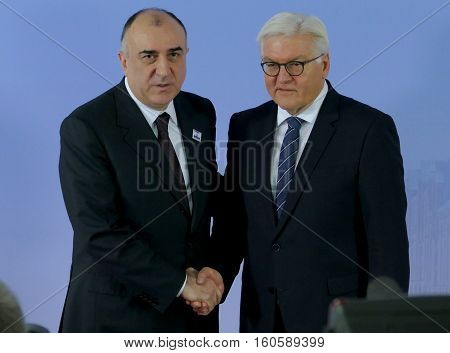 Hamburg Germany. December 8th 2016: Minister Dr Frank-Walter Steinmeier welcomes Elmar Mammadyarov Minister of Foreign Affairs of Azerbaijan at the 23rd OSCE Ministerial Council in Hamburg