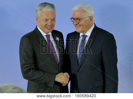Hamburg Germany. December 8th 2016: Minister Dr Frank-Walter Steinmeier welcomes Didier Reynders Minister of Foreign Affairs of Belgium at the 23rd OSCE Ministerial Council in Hamburg