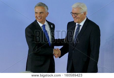 Hamburg Germany. December 8th 2016: Minister Dr Frank-Walter Steinmeier welcomes Didier Burkhalter Minister of Foreign Affairs of Switzerland at the 23rd OSCE Ministerial Council in Hamburg