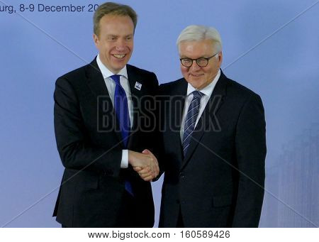 Hamburg Germany. December 8th 2016: Minister Dr Frank-Walter Steinmeier welcomes Borge Brende Minister of Foreign Affairs of Norway at the 23rd OSCE Ministerial Council in Hamburg