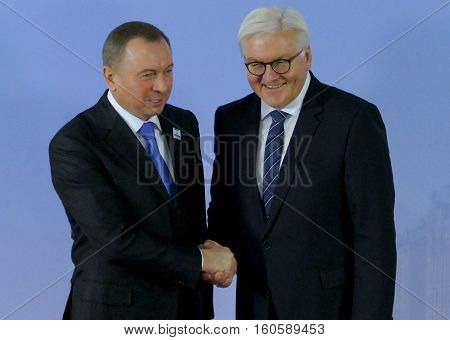 Hamburg Germany. December 8th 2016: Minister Dr Frank-Walter Steinmeier welcomes Vladimir Makei Minister of Foreign Affairs of Belarus at the 23rd OSCE Ministerial Council in Hamburg