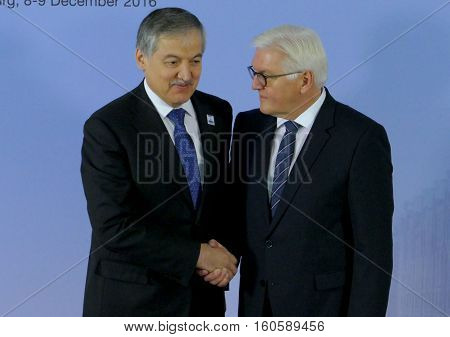 Hamburg Germany. December 8th 2016: Minister Dr Frank-Walter Steinmeier welcomes Sirojidin Aslov Minister of Foreign Affairs of Tajikistan at the 23rd OSCE Ministerial Council in Hamburg