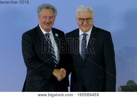 Hamburg Germany. December 8th 2016: Minister Dr Frank-Walter Steinmeier welcomes Jean Asselborn Minister of Foreign Affairs of Luxembourg at the 23rd OSCE Ministerial Council in Hamburg