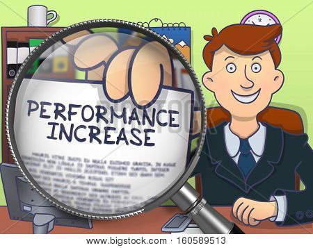 Performance Increase. Officeman Sitting in Office and Holding a through Magnifying Glass Paper with Concept. Colored Doodle Style Illustration.