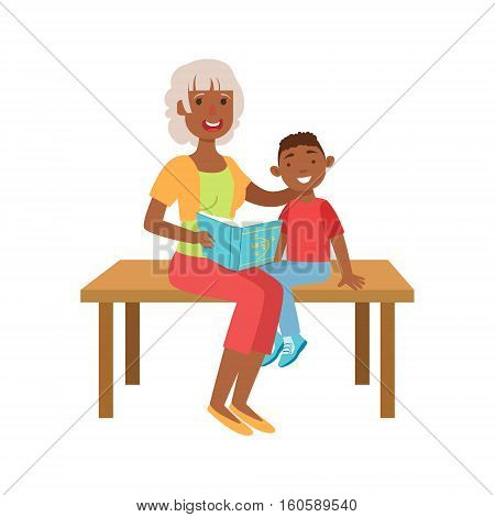 Grandmother And Grandson Reading Book, Part Of Grandparent And Grandchild Passing Time Together Set Of Illustrations. Good Relationship Between Generations Of Family Cartoon Vector Drawing.