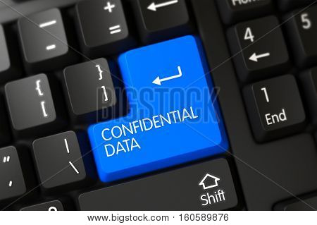 Confidential Data on Modern Laptop Keyboard Background. 3D.