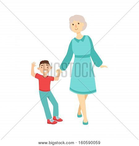 Grandmother And Grandson Walking Holding Hands, Part Of Grandparent And Grandchild Passing Time Together Set Of Illustrations. Good Relationship Between Generations Of Family Cartoon Vector Drawing.
