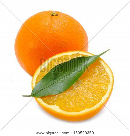 Oranges with Green Leaf Isolated on White Background
