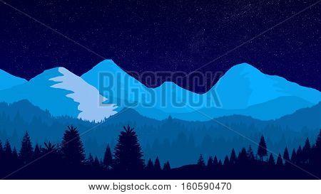 A beautiful fantasy night winter mountain landscape