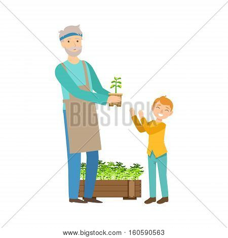 Grandfather And Grandson Gardening, Part Of Grandparent And Grandchild Passing Time Together Set Of Illustrations. Good Relationship Between Generations Of Family Cartoon Vector Drawing.