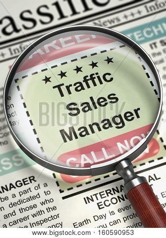 Traffic Sales Manager - Advertisements and Classifieds Ads for Vacancy in Newspaper. Traffic Sales Manager. Newspaper with the Jobs. Job Search Concept. Blurred Image. 3D Illustration.