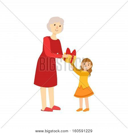 Grandmother Giving Present To Granddaughter, Part Of Grandparent And Grandchild Passing Time Together Set Of Illustrations. Good Relationship Between Generations Of Family Cartoon Vector Drawing.