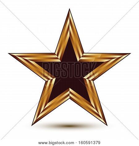 Heraldic Vector Template With Five-pointed Black Star With Golden Outline, Dimensional Royal Geometr