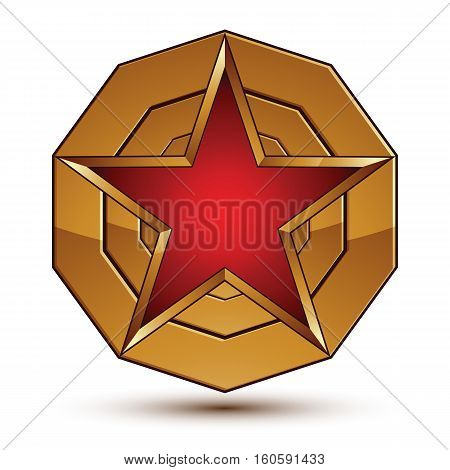 3D Vector Classic Royal Symbol, Sophisticated Red Star Placed On A Golden Ring, Glossy Aurum Element