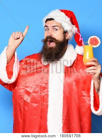 Happy Bearded Santa Claus Man