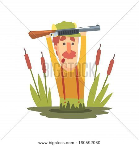 Funny Childish Hunter Character With Moustache Going Through The Swamp Cartoon Vector Illustration. Man And His Hunting Hobby Comic Scene Flat Drawing.